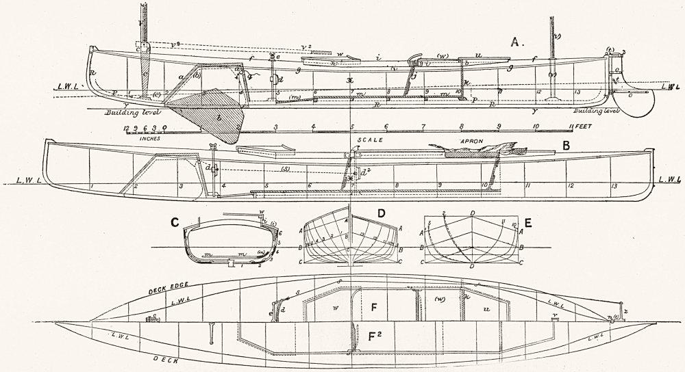 Associate Product CRUISING CANOE PLAN. 'Nautilus', Baden Powell 1891 old antique print picture