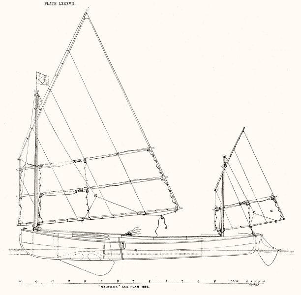 Associate Product YACHTS. 'Nautilus(1886)Sail Plan 1891 old antique vintage print picture