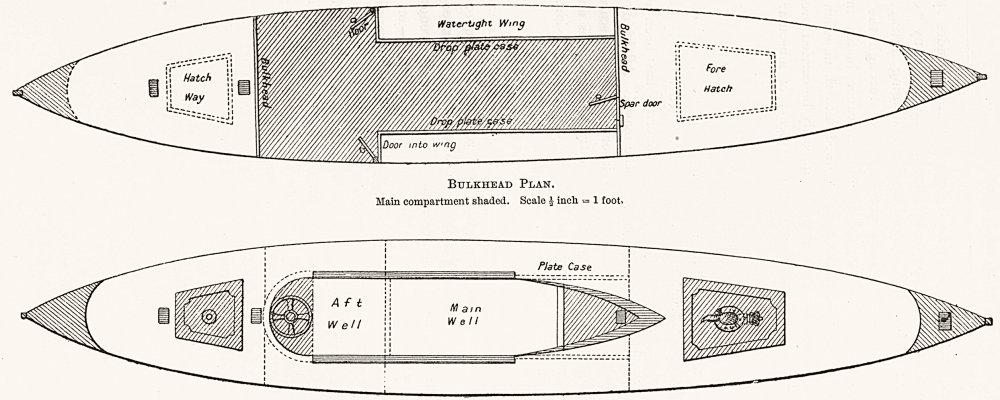 Associate Product BOATS. 'Nautilus, Accommodation, Bulkhead, Deck Plan 1891 old antique print