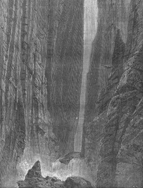 Associate Product ARIZONA. Grand Canyon. raft fallen over Cataract 1880 old antique print