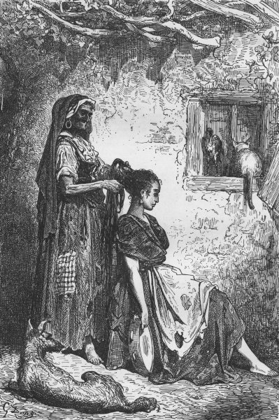 Associate Product SPAIN. Toilet of Gipsy girl at Diezma 1880 old antique vintage print picture