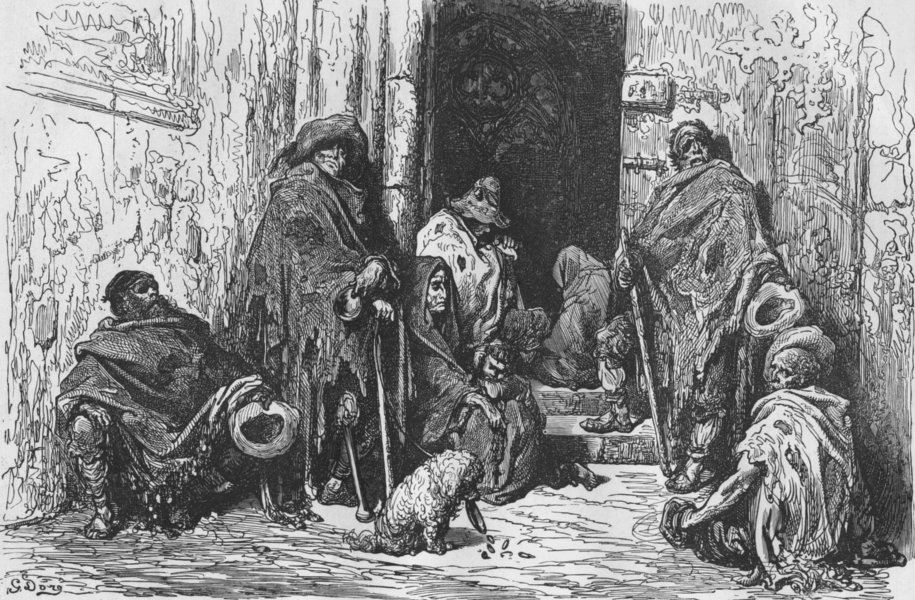 Associate Product SPAIN. Beggars in Cathedral of Barcelona 1880 old antique print picture
