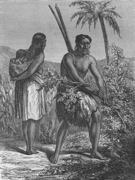 Associate Product PARAGUAY. Indians of Gran Chaco 1880 old antique vintage print picture