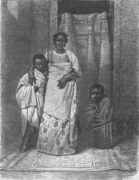 Associate Product MADAGASCAR. Madegasse woman & her children 1880 old antique print picture