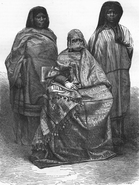Associate Product MADAGASCAR. Queen of Mohilla & her attendants 1880 old antique print picture