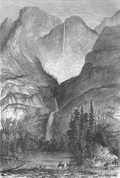 Associate Product CALIFORNIA. Cascade of Yosemite 1880 old antique vintage print picture