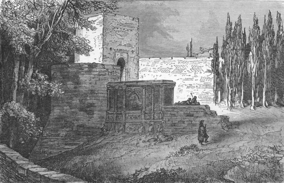 Associate Product SPAIN. Gate of Alhambra 1880 old antique vintage print picture