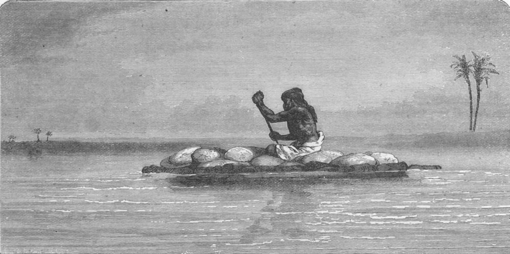 Associate Product IRAQ. Kelek, or raft of inflated skins, Tigris 1880 old antique print picture