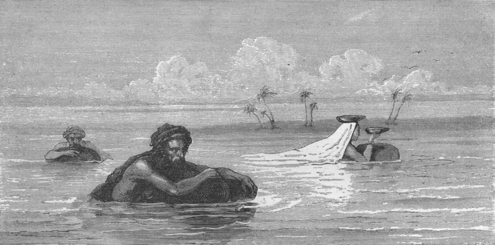 Associate Product IRAQ. Milk-woman & Arabs crossing Tigris 1880 old antique print picture