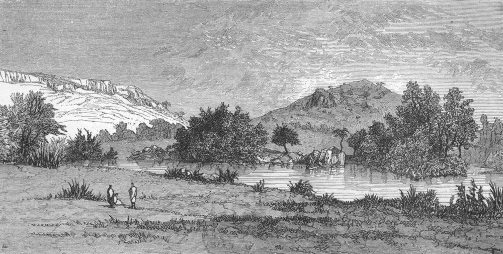 Associate Product ETHIOPIA. River Berhan, Abyssinian Plateau 1880 old antique print picture