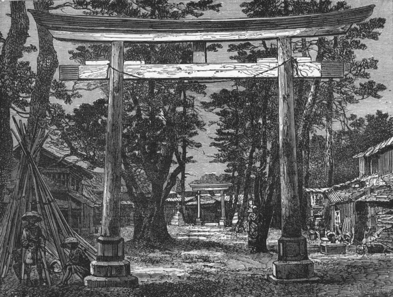 Associate Product JAPAN. Tori, or Holy Gate-Ave of temple, Benten 1880 old antique print picture