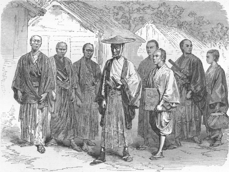 Associate Product JAPAN. Civil, military officials returning from duty 1880 old antique print