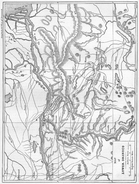 Associate Product VENEZUELA. Map of Lower Orinoco 1880 old antique vintage plan chart