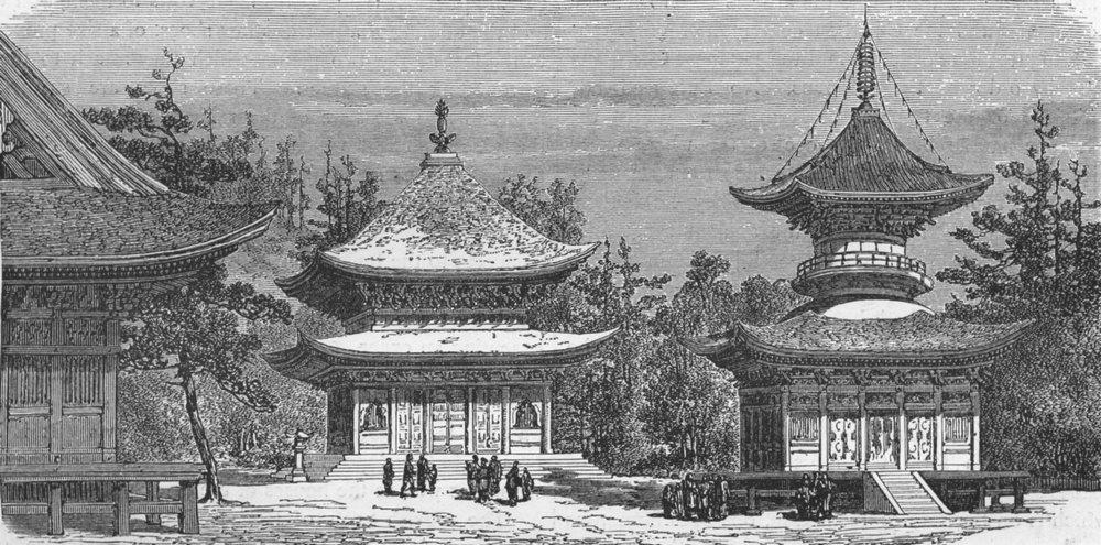 Associate Product JAPAN. Temple of Hatchiman, Kamakura 1880 old antique vintage print picture