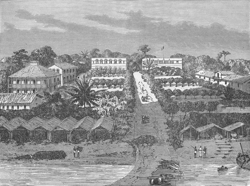 Associate Product GABON. Bird's-eye village 1880 old antique vintage print picture