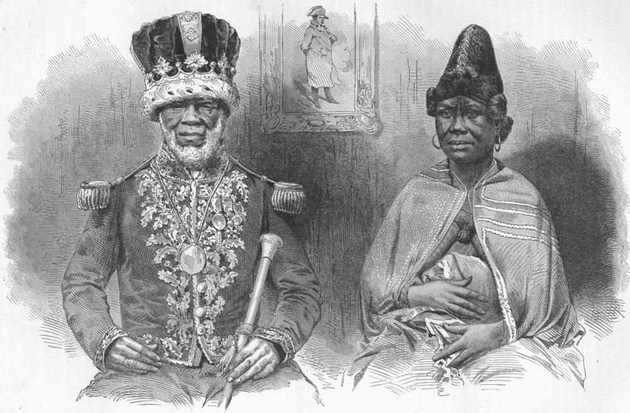 Associate Product GABON. King Denis of & his main wife 1880 old antique vintage print picture