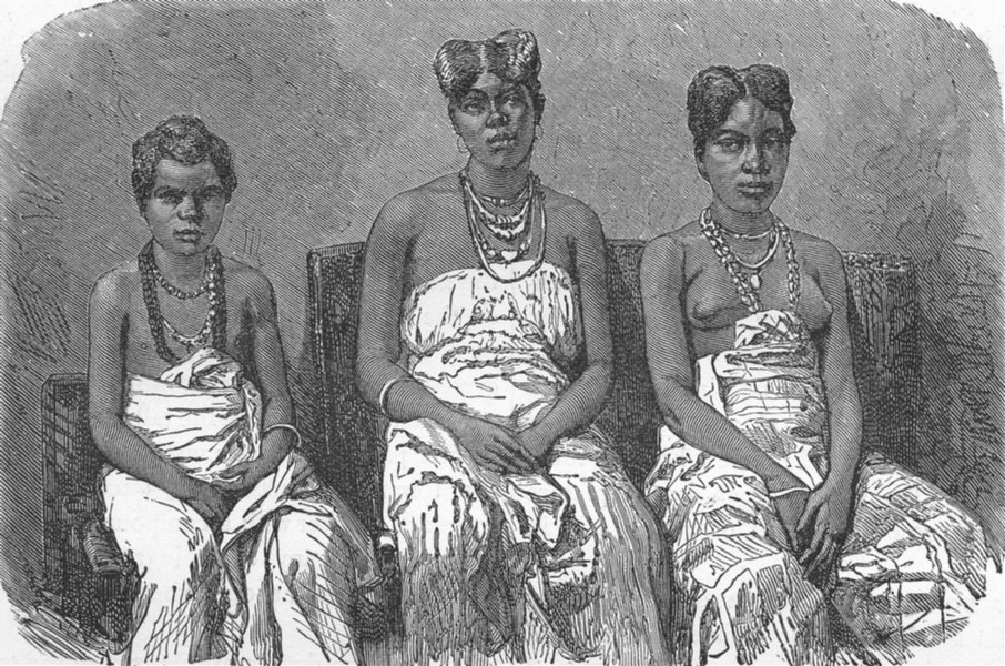 Associate Product GABON. Daughters of King Louis 1880 old antique vintage print picture