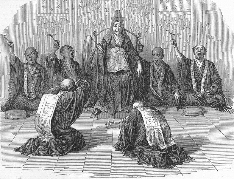 Associate Product JAPAN. Buddhist high-priest worshipped, subordinates 1880 old antique print