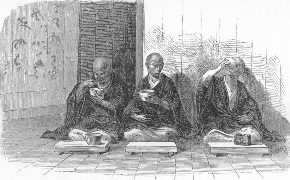 Associate Product JAPAN. Refectory of Buddhist Monastery 1880 old antique vintage print picture