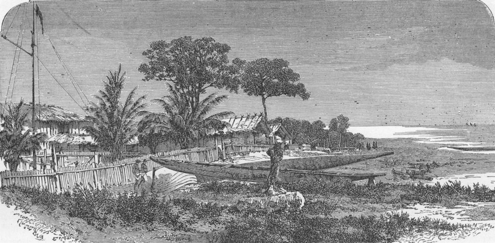 Associate Product GABON. English trading village  1880 old antique vintage print picture