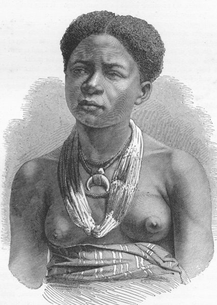 Associate Product GABON. Akera, young girl of 1880 old antique vintage print picture