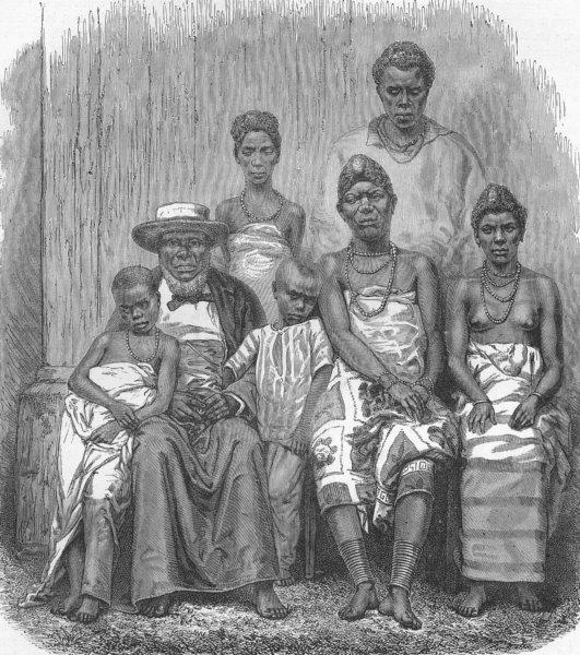 Associate Product GABON. Chief Kringer & his family 1880 old antique vintage print picture