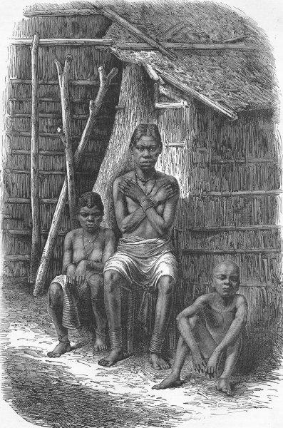 Associate Product GABON. Bakalai woman & children 1880 old antique vintage print picture