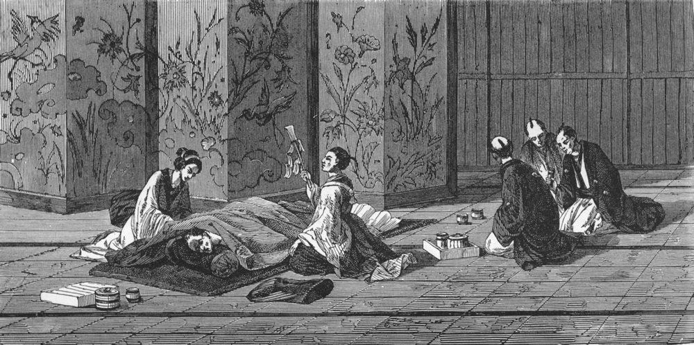 Associate Product JAPAN. Laying-out the dead 1880 old antique vintage print picture
