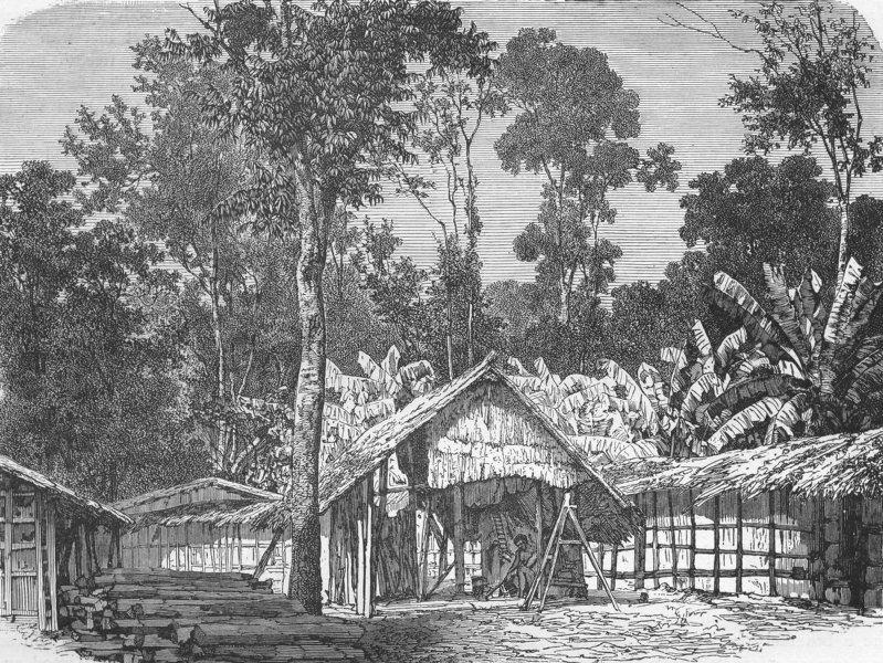 GABON. Village  1880 old antique vintage print picture