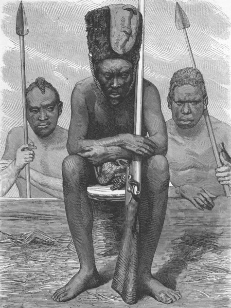 Associate Product CENTRAL AFRICA. Gabon. Pahouin Warriors 1880 old antique vintage print picture