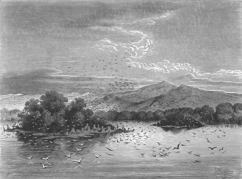 Associate Product GABON. Sacred Isles of lake Jonanga 1880 old antique vintage print picture