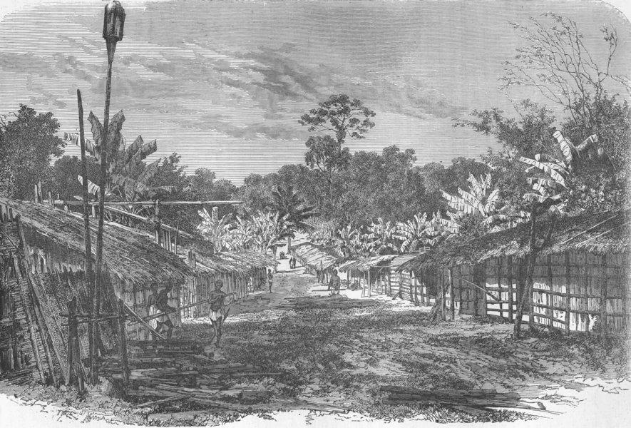 CENTRAL AFRICA. Gabon. Pahouin Village 1880 old antique vintage print picture