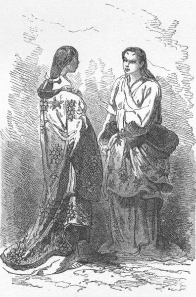 Associate Product JAPAN. Maids of Ct ladies, Kioto 1880 old antique vintage print picture