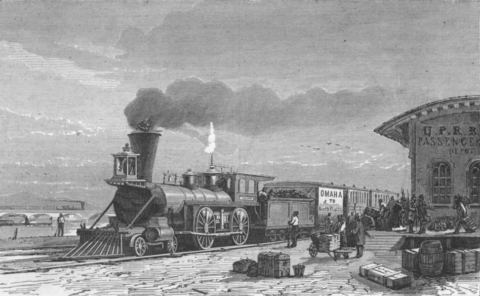 Associate Product NEBRASKA. Pacific railway. Station, Omaha 1880 old antique print picture