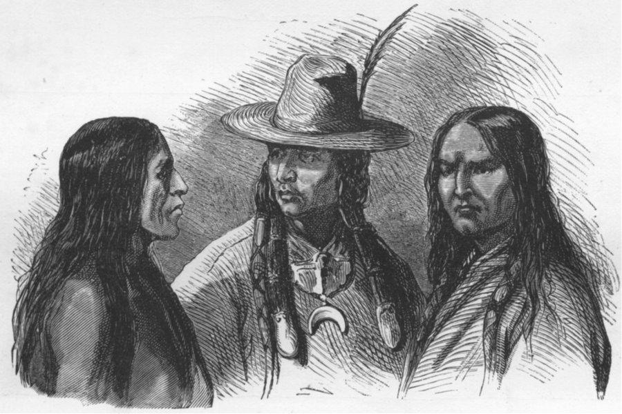 NEBRASKA. . Pawnee Indians 1880 old antique vintage print picture