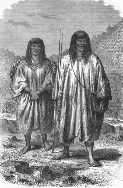 Associate Product BRAZIL. Indians of the river Pachitea 1880 old antique vintage print picture