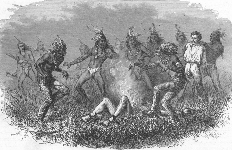 Associate Product USA. Sioux Indians burning prisoner 1880 old antique vintage print picture