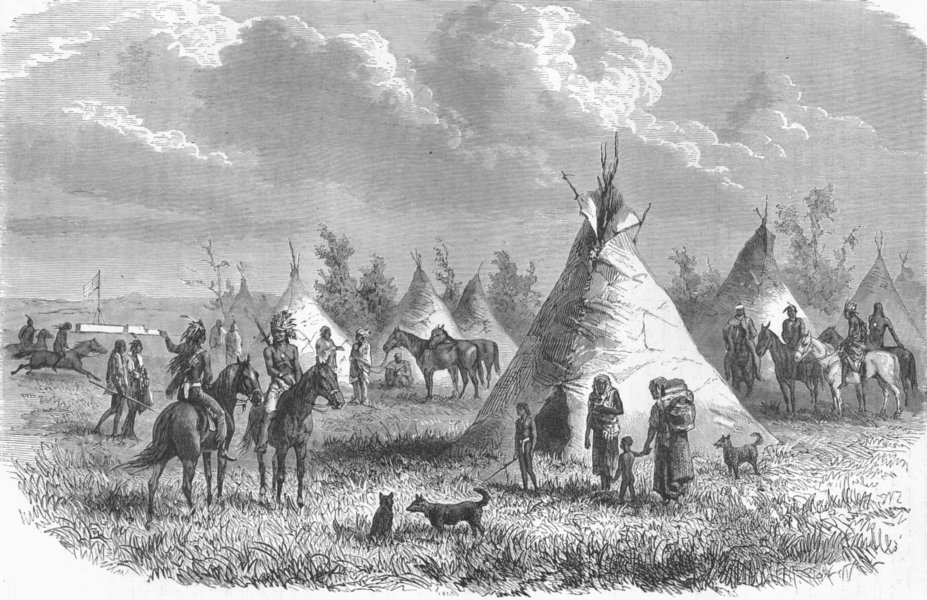 Associate Product USA. Sioux village near Fort Laramie 1880 old antique vintage print picture