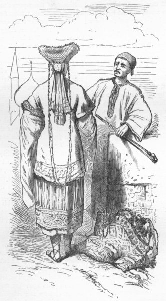 Associate Product RUSSIA. Volga. Chuvashes & costumes 1880 old antique vintage print picture