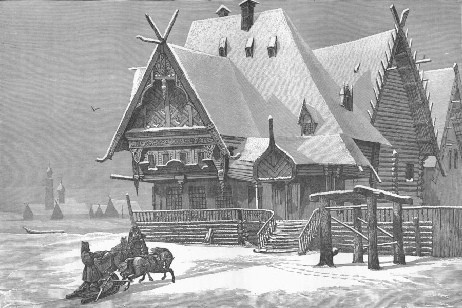 Associate Product RUSSIA. Volga. Wayside Inn in 1880 old antique vintage print picture