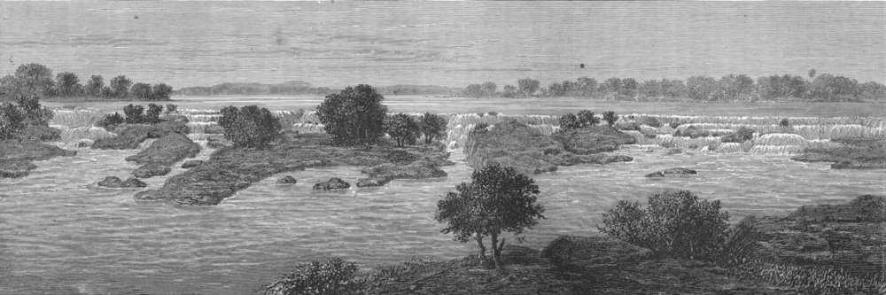 MALI. . The Falls of Felou 1880 old antique vintage print picture