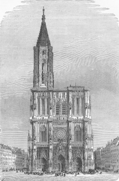 Associate Product FRANCE. Strasbourg Cathedral-Facade, Towers, spire 1880 old antique print