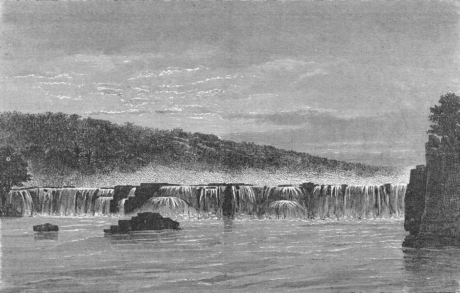 Associate Product MALI. Falls of Gouina, rainy season 1880 old antique vintage print picture