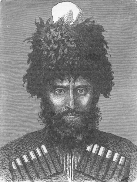 EURASIA. Caucasus. Kabardan of 1880 old antique vintage print picture