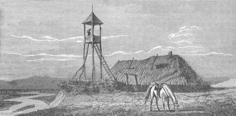 UKRAINE. Caucasus. Cossack Watch-tower 1880 old antique vintage print picture