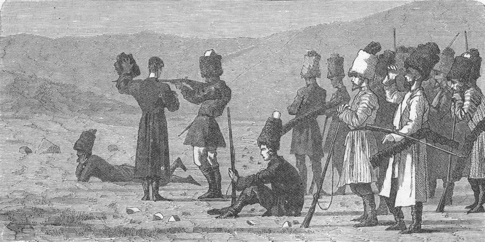 Associate Product UKRAINE. Caucasus. Cossacks, shooting practice 1880 old antique print picture