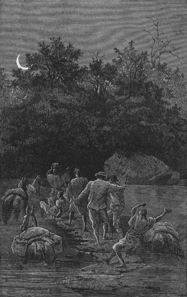 Associate Product MALI. Fording the Bakhoy 1880 old antique vintage print picture