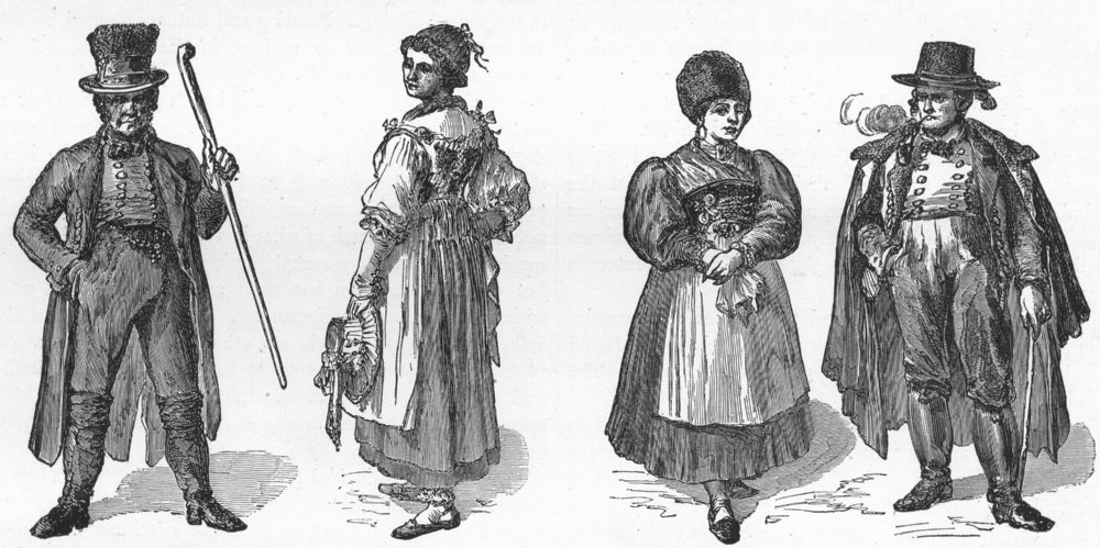 Associate Product GERMANY. Bavarians & Bavarian costumes 1880 old antique vintage print picture