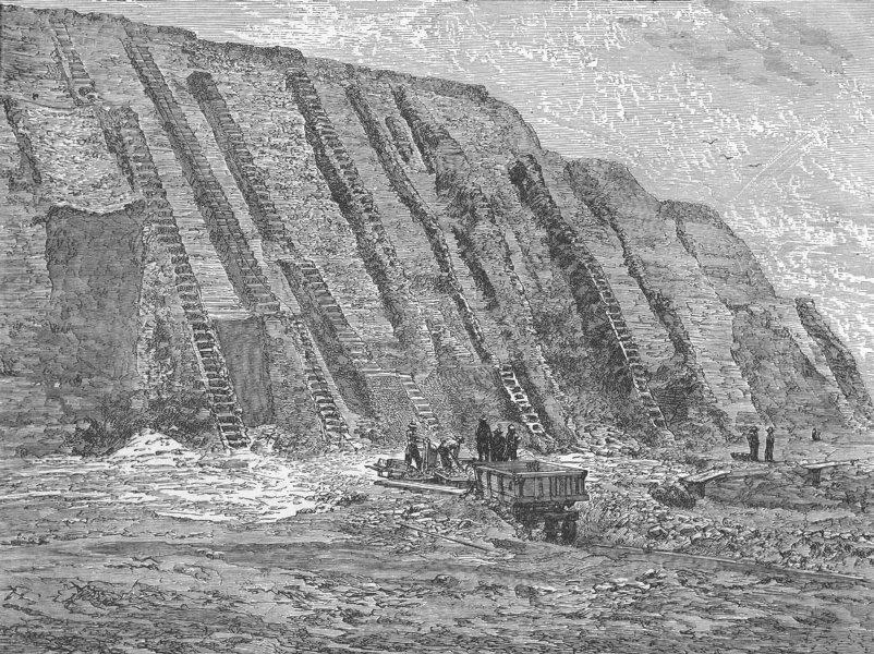 Associate Product PERU. Chincha Islands. Workings & Guano deposit  1880 old antique print