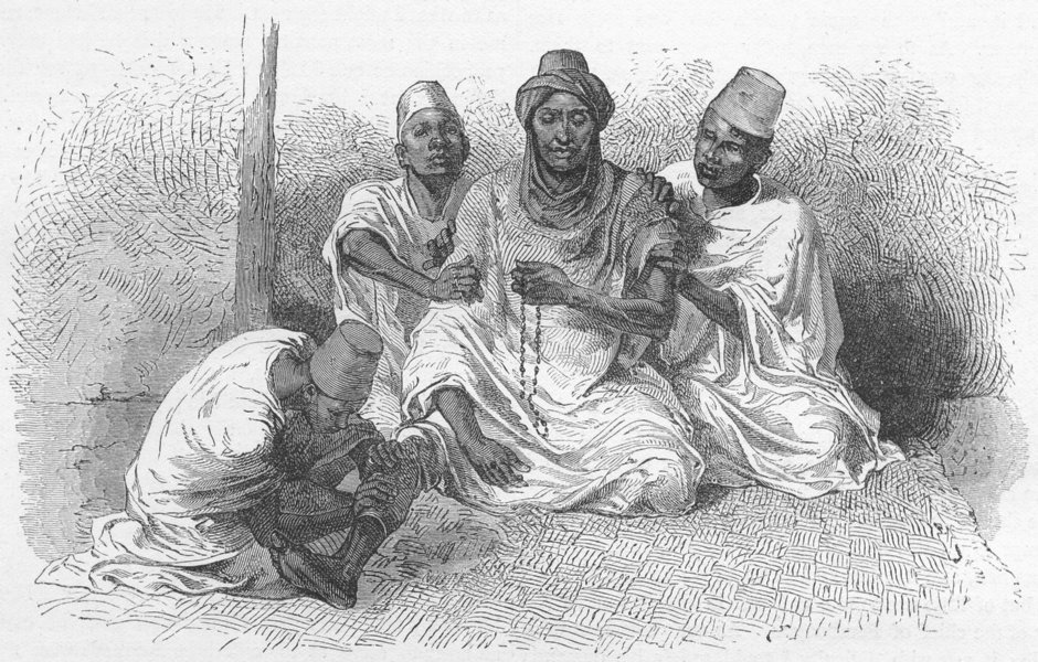 Associate Product MALI. Tierno Ousman shampooed, his attendants 1880 old antique print picture
